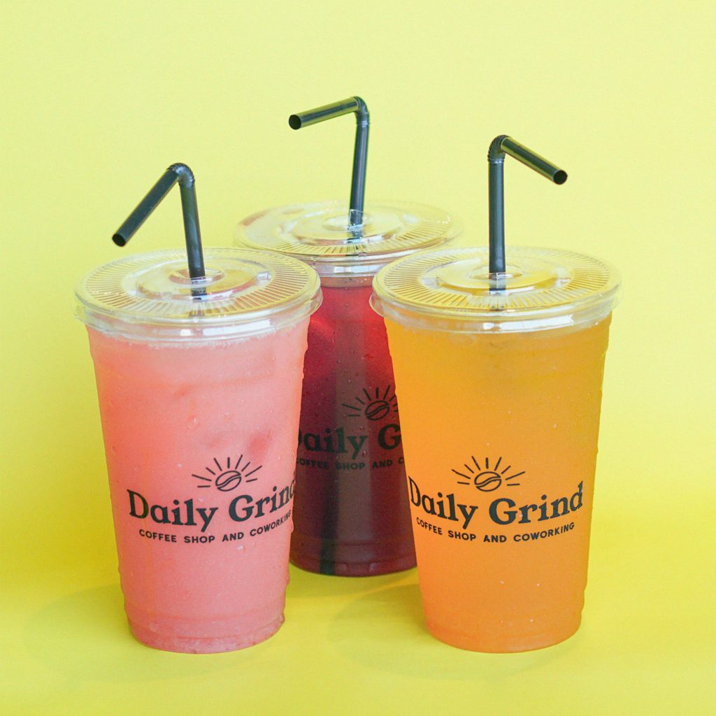 Strawberry Banana, Blueberry Pomegranate, and Peach Fruit Juice from Daily Grind Coffee Shop