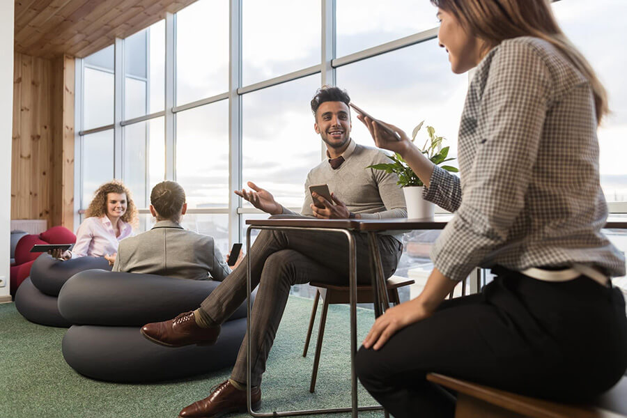 Businesspeople Group In Best Coworking Space, Coworkers Workplace Mix Race People Meeting