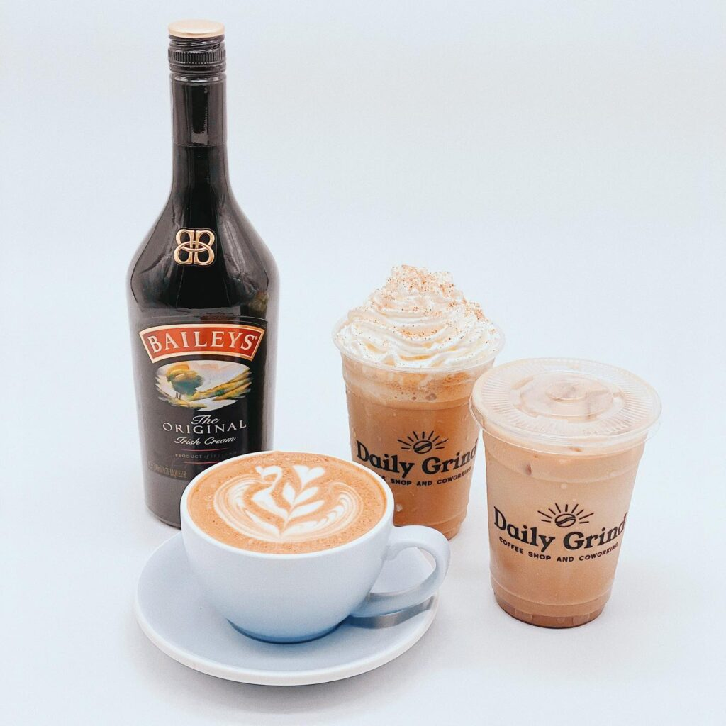 newest offering from the best coffee shop nearby: baileys-infused drinks