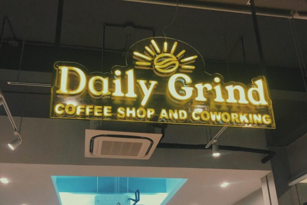 coffee shops near me: exterior shot of daily grind coffee shop