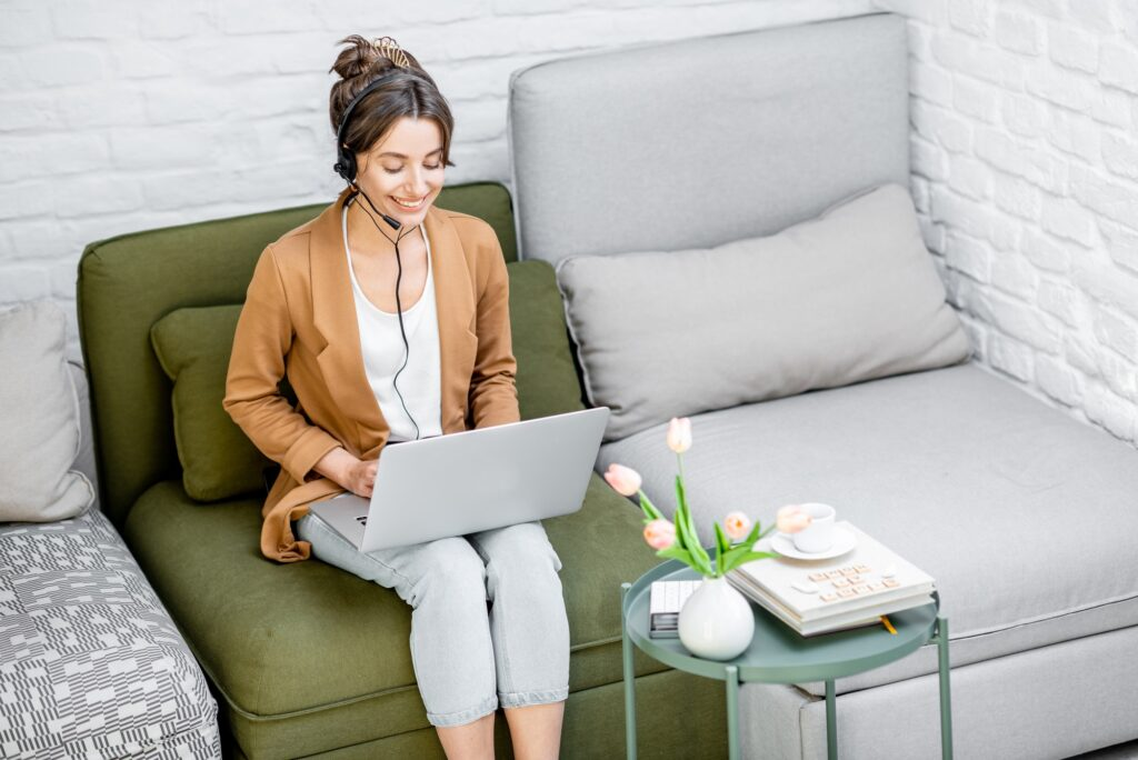 woman on a remote work setup, working online from home