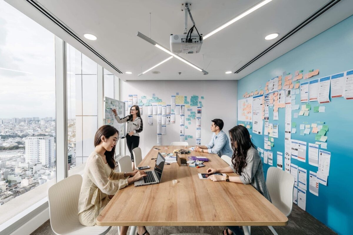 brainstorming and collaborating in a coworking space