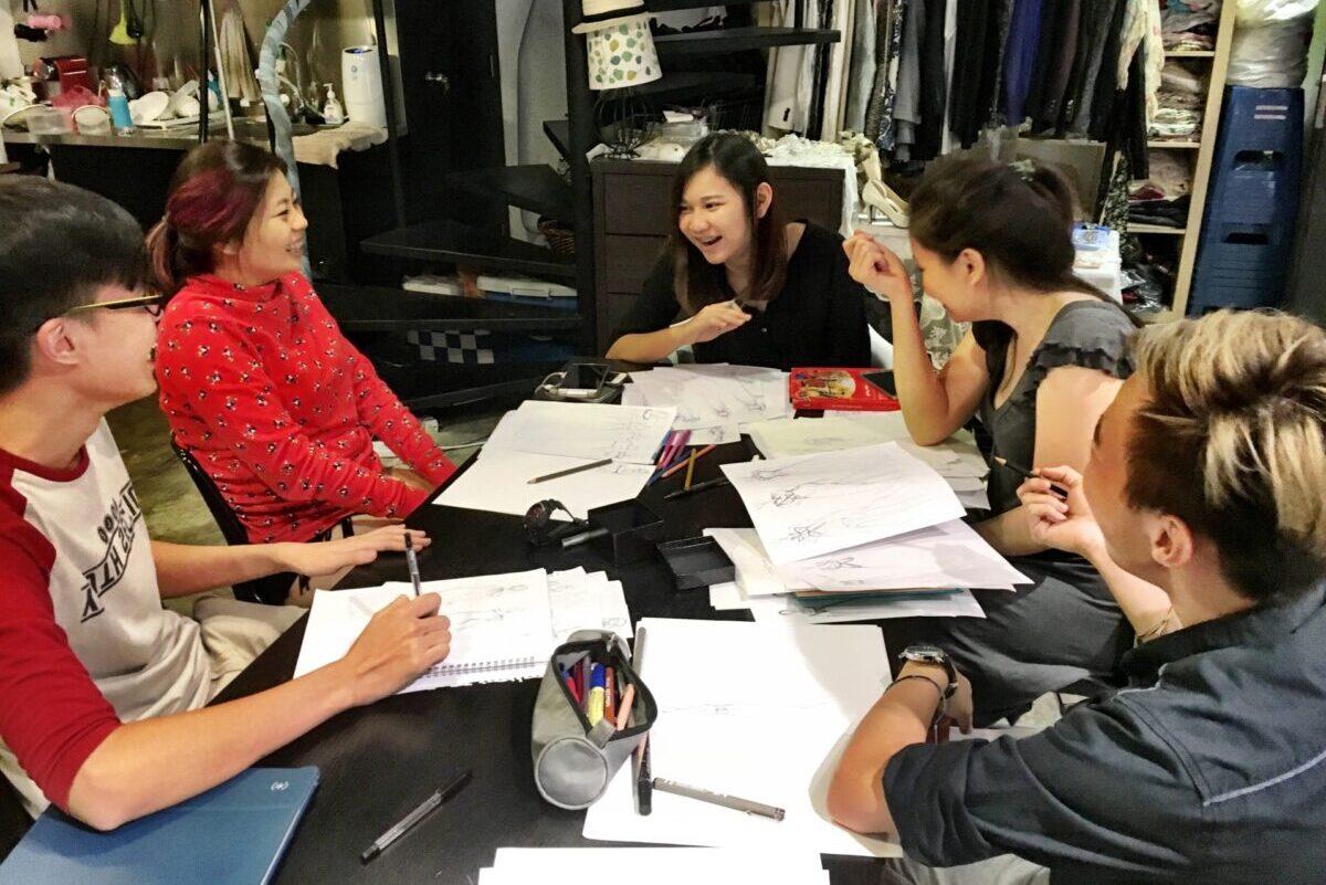 happy team brainstorming ideas